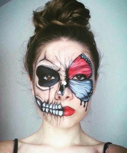 Butterfly meets skull