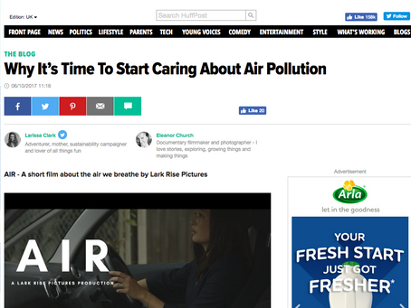 """Blogpost on the HuffPost about our motivation to make """"AIR: A film about the air we breathe"""""""