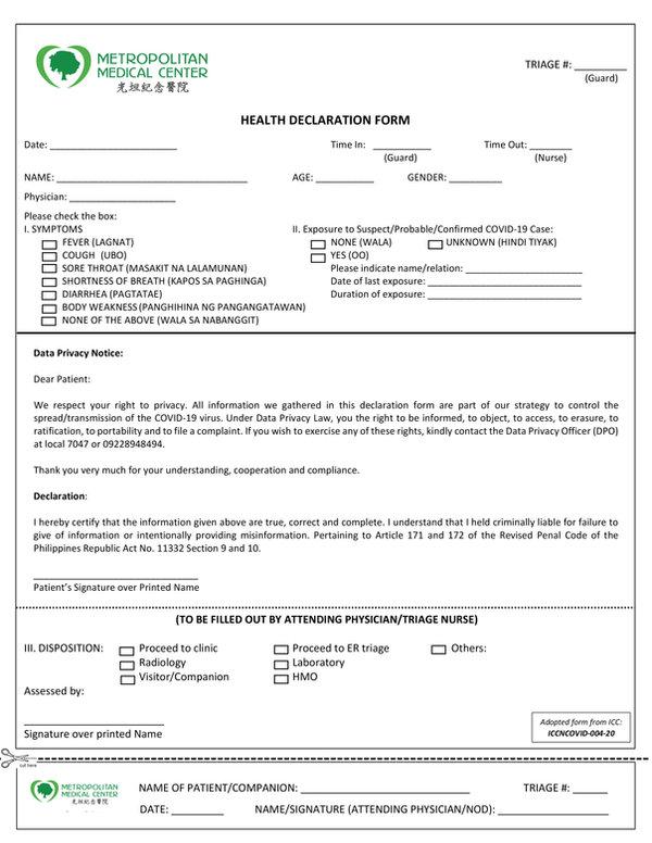 MEMO_HEALTH DECLARATION FORM 06222020 re