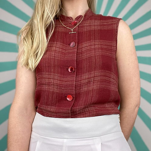Vintage Red Cropped Blouse