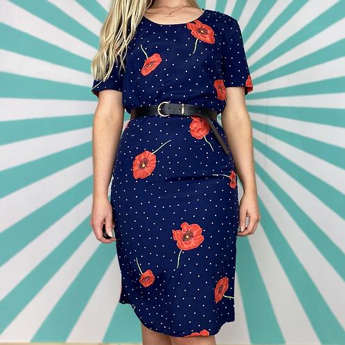 Navy Poppy Midi Dress