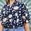 Thumbnail: Navy Floral Silk Blouse