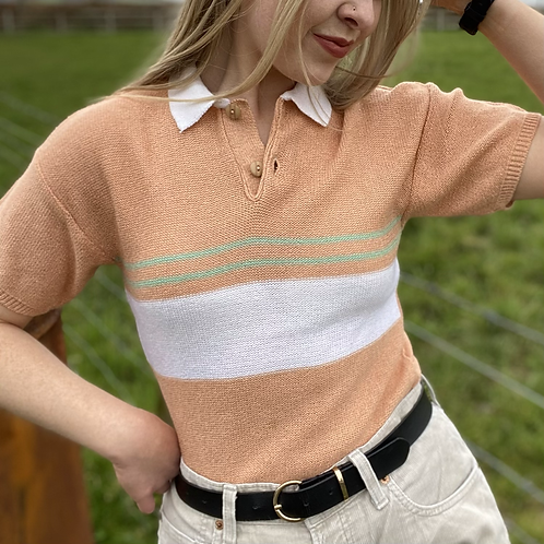 Vintage Knitted Peach Polo