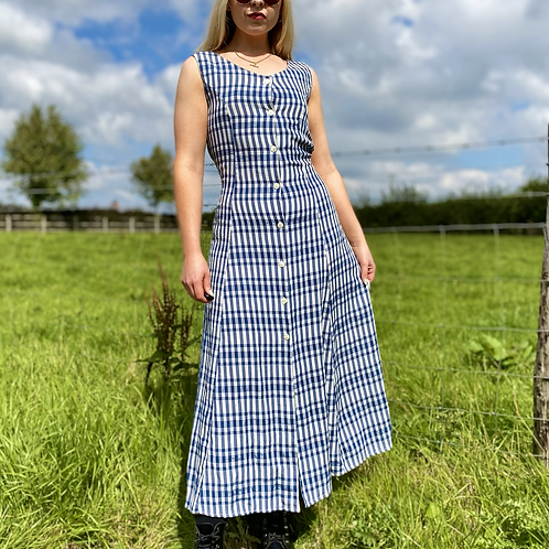 Blue Cheque Maxi Dress