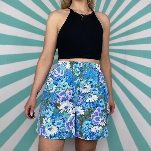 Vintage Blue Floral Shorts