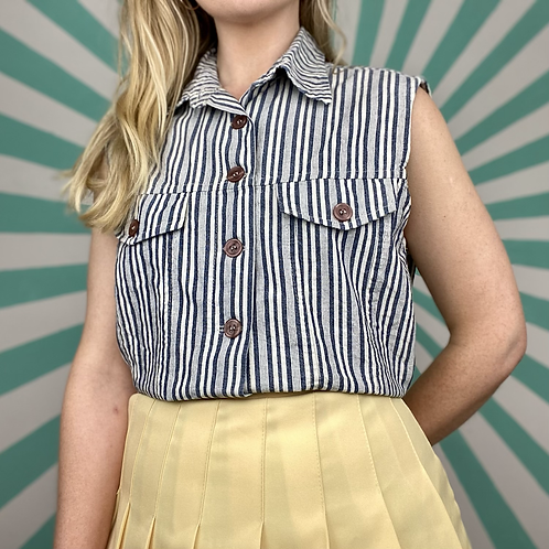 Blue Striped Cropped Blouse