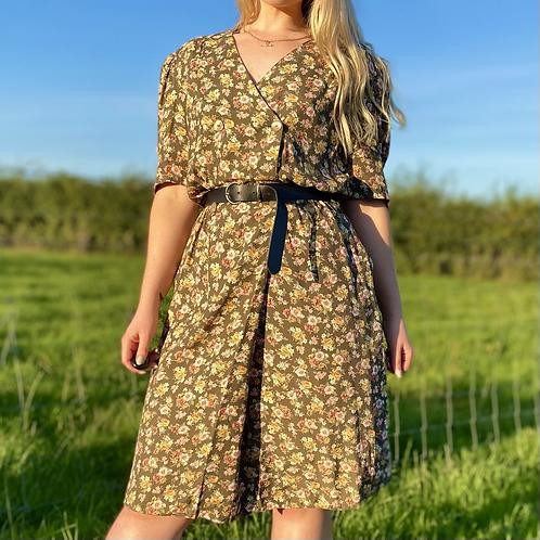 Khaki Floral Midi Dress