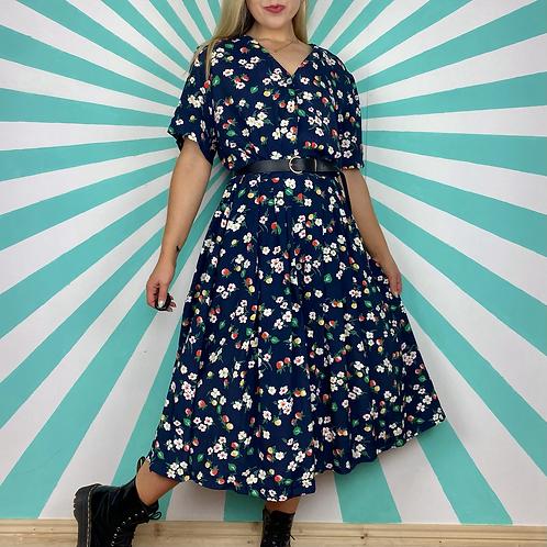 Navy Floral Midi Dress