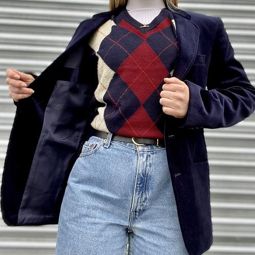 Vintage Corduroy Navy Blazer