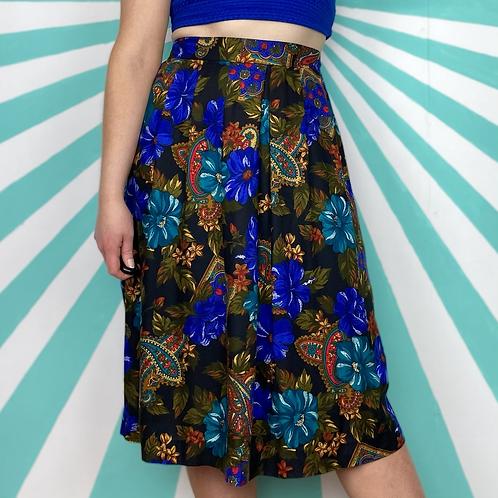 Blue Paisley Midi Skirt