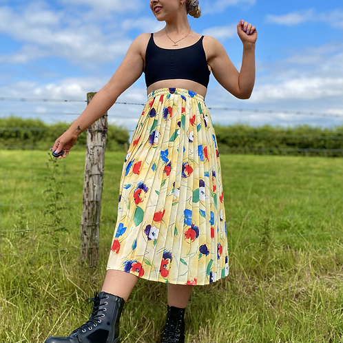 Yellow Floral Pleated Skirt