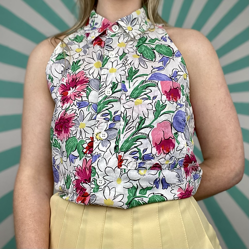 Pastel Floral Cropped Blouse