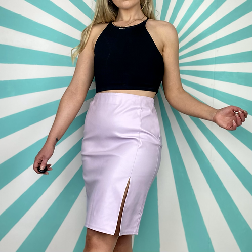 Lilac Faux Leather Skirt