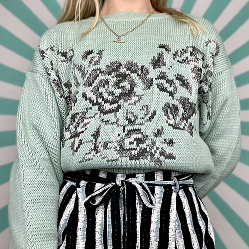 Mint Floral Summer Knit