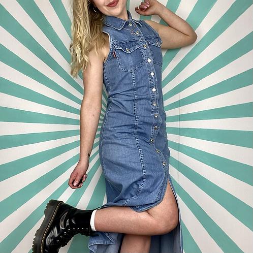 Vintage Denim Buttoned Dress