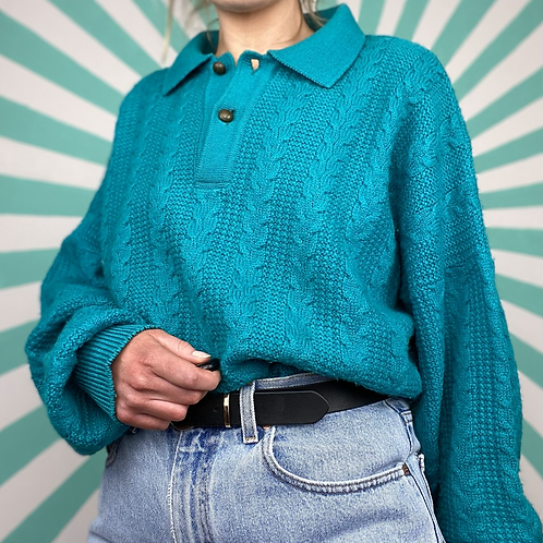 100% Wool Turquoise Knit