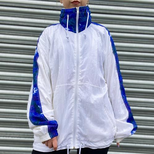 White / Blue Retro Windbreaker