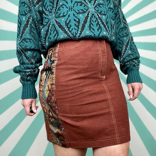 Vintage Burgundy Retro Skirt