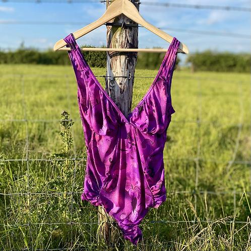 Vintage Purple Floral Swimsuit