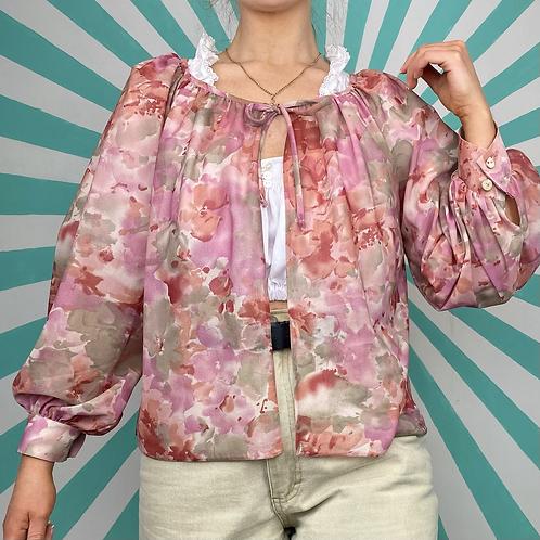 Sheer Pink Floral Cardigan