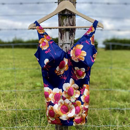 Navy Floral Vintage Swimsuit