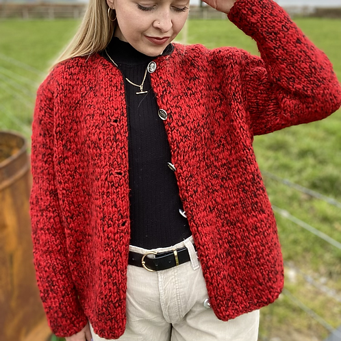 Vintage Red Knitted Cardigan