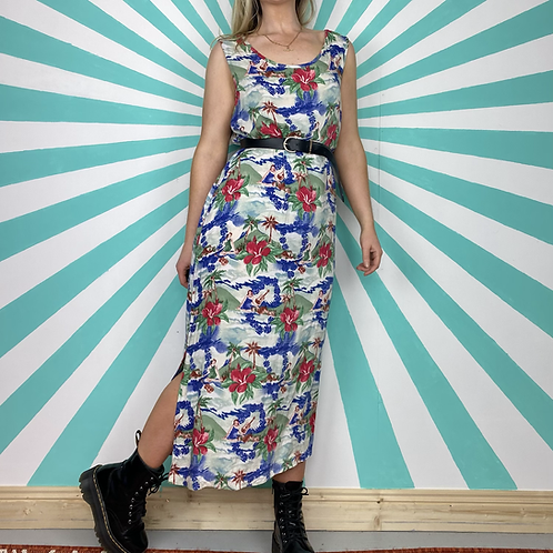 Blue Hawaiian Maxi Dress