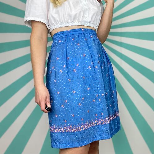Vintage Blue Floral Skirt