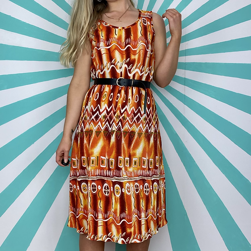 Orange Retro Midi Dress