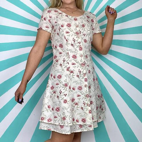 Cream Floral Mini Dress
