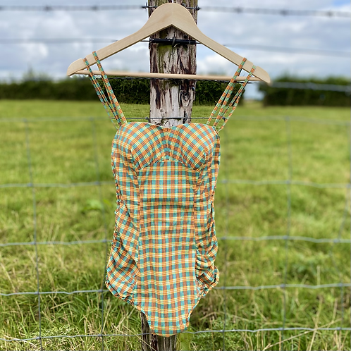 Green Cheque Vintage Swimsuit