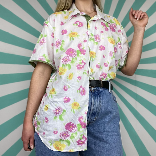 White Floral Patterned Blouse