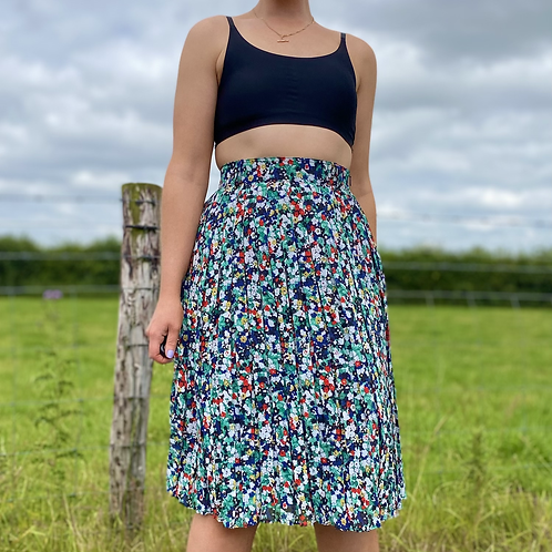 Mint Floral Pleated Skirt