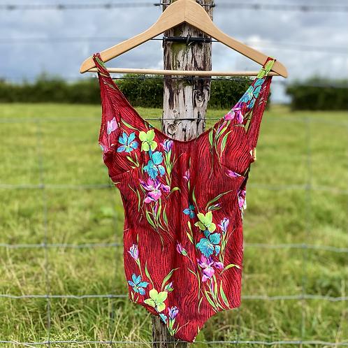 Red Floral Vintage Swimsuit