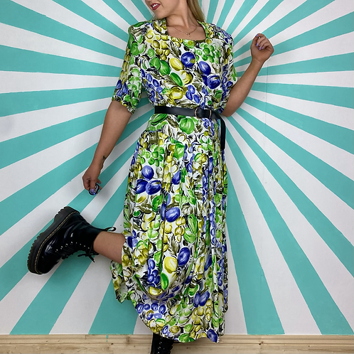 Green Fruit Patterned Maxi
