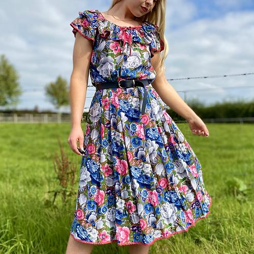 Blue Floral Midi Dress
