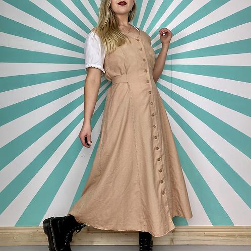 Beige Chequered Maxi Dress