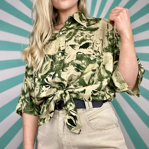 Green Floral Patterned Blouse