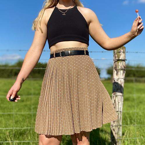 Beige Polka Pleated Skirt