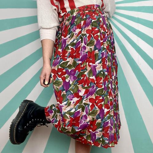 Red Floral Midi Skirt