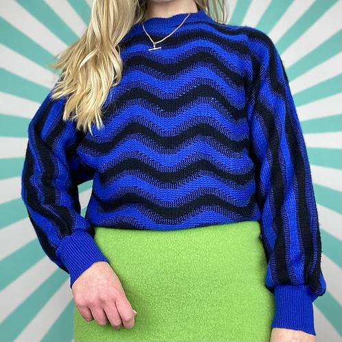 Blue Pattern Funky Knit