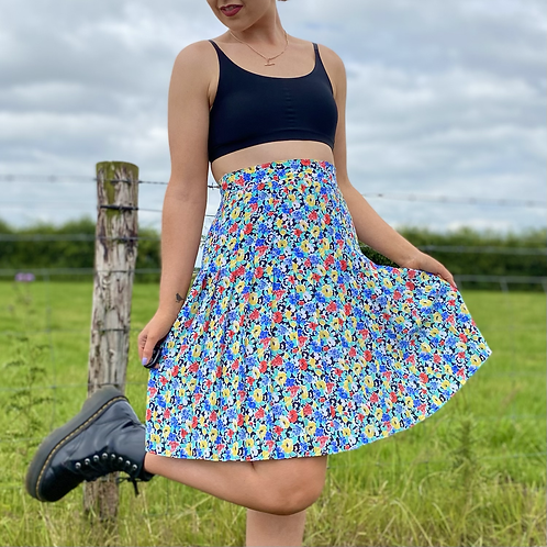 Blue Floral Pleated Skirt