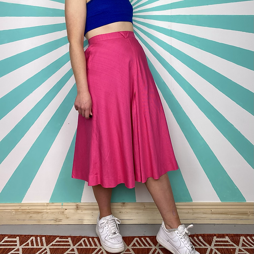 Pink Linen Midi Skirt