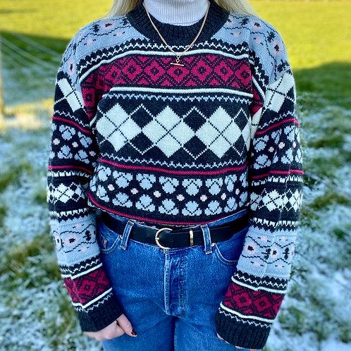 Vintage Argyle Style Wooly Jumper