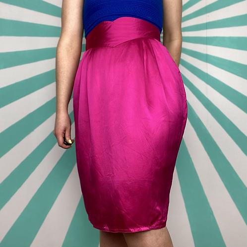 Pink Silk Tulip Skirt