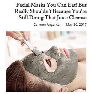 Facial Masks You Can Eat!  But Shouldn't because your still doing that Juisc Cleanse