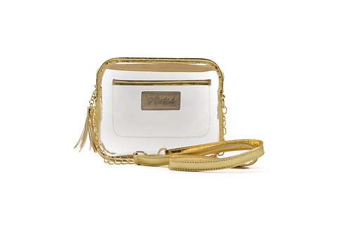 WHOLESALE 'K'lear Box with Tassel Stadium Klutch ~Gold