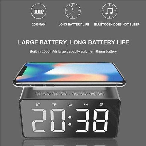 Multi-function 3 in 1 Digital LCD Alarm Clock, Bluetooth Speaker with Wireless C