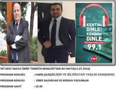 İzmirComp 11 temmuz 2016 pazartesi saat:10.30'da TRT Kent Radyo İzmir (frekans: 99.1) 'de ya