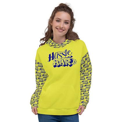 Unisex Hussle Hard Neon Yellow/Royal Blue Hoodie
